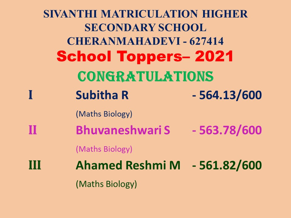 XII Std School Toppers 2021-Congratulations !!!
